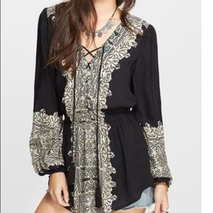 Free People Wildest Moment Print Tunic Lace Up